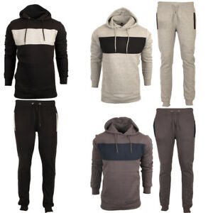 Men Full Fleece Tracksuit Set Hoodie Top Bottom Pants Jogging Joggers Gym Sport