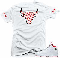 Shirt to match Air Jordan History of Flight Retro 13. Bull 13  White Shirt