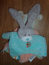 Doudou Peluce Baby'nat Babynat lapin rabbit bunny lièvre STELLO orange bleu plat