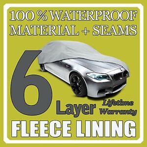 6 Layer Car Cover Breathable Waterproof Layers Outdoor Indoor Fleece Lining Sia1