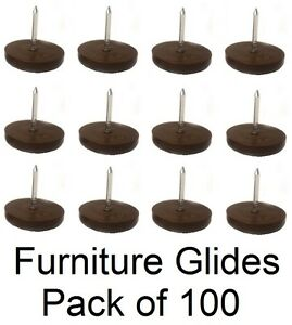 """3/4"""" Furniture Chair Nail Feet Glides Protect Floor (Brown) - Pack of 100"""