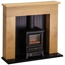 ELECTRIC FIRE STOVE OAK MANTLE AND BLACK FIREPLACE MODERN SURROUND SUITE BNIB