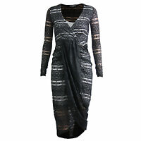 Womens Wrap Front Long Sleeve V Neck Floral Lace Bodycon Midi Dress Drapped 8-14