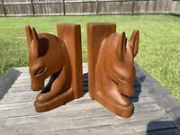 Horse Head Bookends Vintage Carved Wood PAIR Midcentury Deco Abstract 7.5""