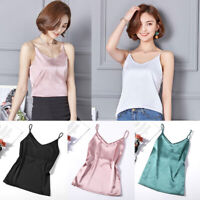 Women Satin Silk Spaghetti Strap V neck Cami Top Vest Camisole T-shirts Blouse