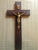Art Deco 1930's Wooden Crucifix/Cross with brass trim-Great condition