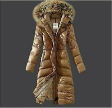 Women Winter Fur Duck Down Coat Hooded Jacket Slim Long Parka Outwear