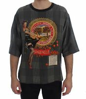 NEW $580 DOLCE & GABBANA T-shirt Crewneck SANGUINELLA ITALIA Print Silk IT44 / S