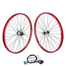 "26"" x 1.75 Bicycle WheelSet BLACK Spokes Shimano Internal Nexus 3-speed Red"