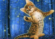 Bengal kitten cat fireflies stars forest moon fantasy OE aceo print art