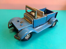 Old Vtg Collectible Blue Pressed Steel Topper Pick Up Jeep Truck Toy Made Japan