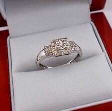Designer SUN 925 Sterling Silver Diamond Ring Size 7