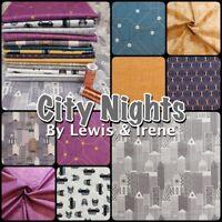 Lewis & Irene CITY NIGHTS Metallic Town London 100% Cotton Patchwork Fabric