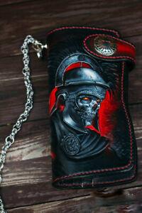 Centurion,Skull wallet, Biker wallet, Long wallet, Carved wallet, Genuine Leathe