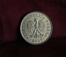 2005 Poland 5 Groszy World Coin Brass Y278 Polska Eagle Wings Polish Oak Leaves
