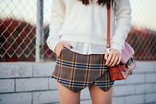 ZARA CAMEL CHECK MINI SKIRT SHORTS SKORT SIZE L LARGE
