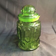 Vintage Canister Jar Moon and Star Pattern Green Glass ( N 5 ) zz