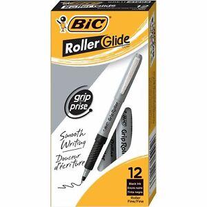 BIC Grip Stick Roller Ball Pen, Black Ink.7mm, Fine,12 Pack - NEW