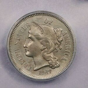 1867-P 1867 Three Cents 3cn Clashed Dies ICG MS64