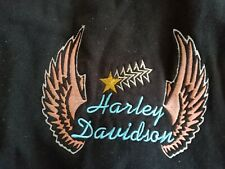 HARLEY DAVIDSON WOMENS, EMBROIDERED, DOUBLE SIDED, FULL ZIP, LARGE BLACK HOODIE
