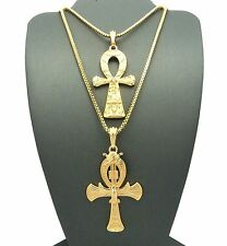 Hip Hop Ankh Egyptian Cross of Life Pendant w/ Box Chain 2 Necklace Set GN008 G