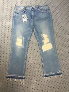 Brand New Women's Fat Face Blue Straight Leg Cropped Frayed Jeans Size 12