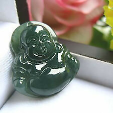 Magnifique Pendentif Mini Bouddha en Jade Vert  Foncé
