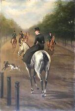 Ecole anglaise écuyère  anonyme vers 1875 XIXe Cheval Chevaux XIXe équitation .