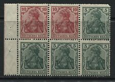 German Empire 1905 5 pf (4) and 10 pf (2) Germania booklet pane mint o.g.