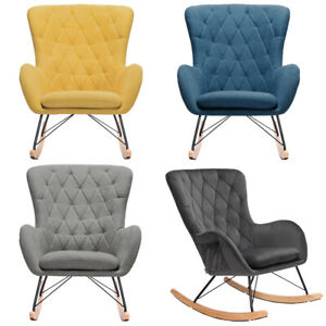 Fabric Rocking Chair Relaxing Armchair Ergonomic Padded Seat Wingback Livingroom
