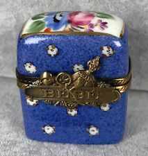 Limoges Trinket Box - Blue Floral Baby Bebe Bag w/ Contents - Original Box 380
