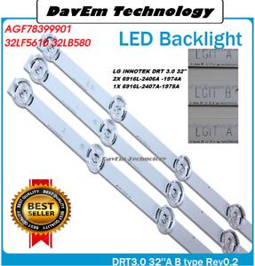 KIT 3 BARRE STRIP 6 LED TV LG INNOTEK 32 AGF78399901 32LF5610 32LB580 6916L ETC