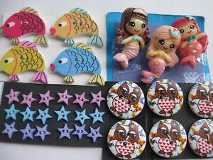 9-32mm BARGAIN Fun Cute Mermaid Fish Owls Star Mixed Kids Sewing Buttons Set 31