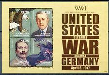 Canouan Gren St Vincent 2014 MNH WWI WW1 US Declares War Germany 4v M/S Stamps