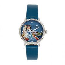 Empress Diana Tiger MOP Dial Teal Leather Women's Watch EM3002
