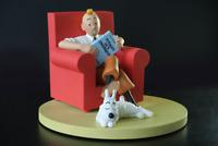 TINTIN ET MILOU A LA MAISON fauteuil rouge hergé moulinsart collection numérotée