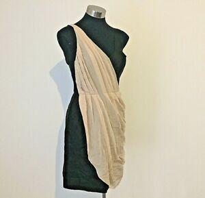 NEW! Designer Truese Breeze Silk Dress Black & Tan Size 12 M