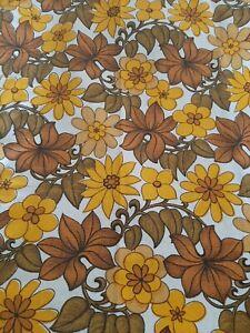 Vintage 60s Bark Cloth Cotton Curtains 1.65m L  1.12m 1m Fent Yellow Floral