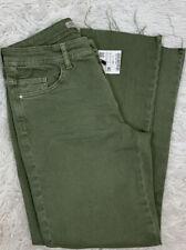 Zara Basic Jeans Green Size 38/6 Women's Straight Cropped Frayed Denim NWT