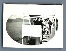 "Bernard Lefebvre, Mer Baltique, Sur le pont du ""France""  Vintage silver print. E"