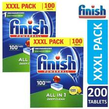 2 x Finish All In One Deep Clean Powerball Dishwasher 100 Tablets Lemon Sparkle