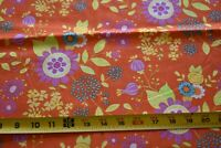 """22"""" Long Bright Colorful Floral on Orange Quilt Fabric, Moda/Sandy Gervais N4929"""