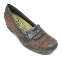 Women's Merrell Plaza Wedge Loafers Clogs Shoe Size 8.5M Brown Suede Casual AG15