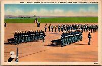 Vtg 1930's Parade at US Marine Corps Base, San Diego California CA Postcard