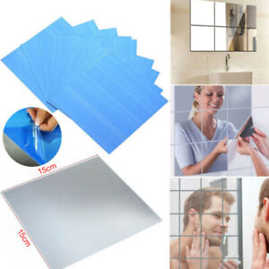 Lots Glass Mirror Tiles Wall Sticker Square Self Adhesive Stick On DIY Home