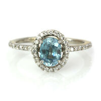 1.4 ctw Natural Blue Zircon & Diamond Solid 14k White Gold Halo Engagement Ring
