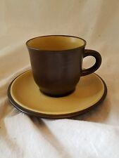 Noritake FOLKSTONE EQUATOR Brown Yellow Cup & Saucer 432597