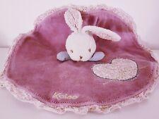 Doudou lapin rond Kaloo violet mauve coeur fleur collection hippie chic