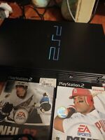 Playstation 2 PS2 Fat Black Console Bundle  w/ Controller 3 games SCPH-30001.