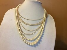 $89.50 Brooks Brothers Gold Chain And Pearl Multi Strand Necklace  BB 1